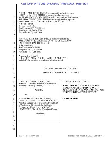 Plaintiff's Motion for a Preliminary Injunction - ACLU of Northern ...