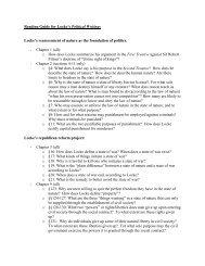 Reading Guide for Locke's Political Writings Locke's reassessment ...