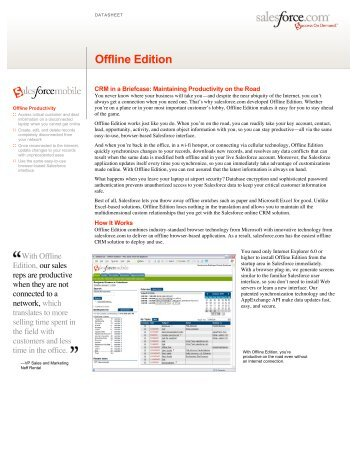 Offline Edition from salesforce.com datasheet