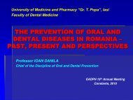 the prevention of oral and dental diseases in romania - European ...