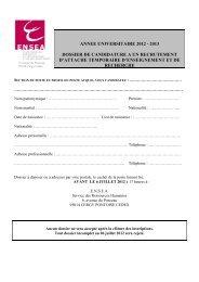 annee universitaire 2012 - 2013 dossier de candidature a ... - ENSEA