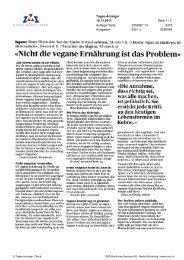 «Nicht die vegane Ernährung ist das Problem» - VgT