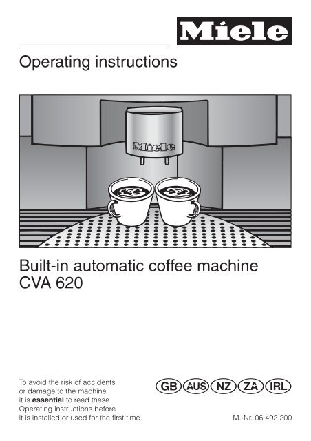 Operating instructions Built-in automatic coffee machine CVA ... - Miele