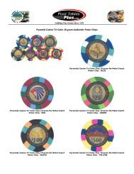 Pyramid Casino Poker Chip Available Colors - Pool Tables Plus