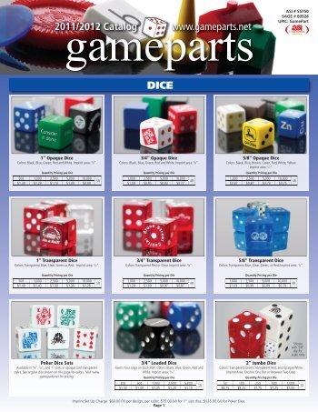 DICE www.gameparts.net 2011/2012 Catalog