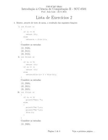 Lista de Exercícios 2 - USP