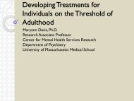 Developing Treatments for Individuals on the Threshold of Adulthood