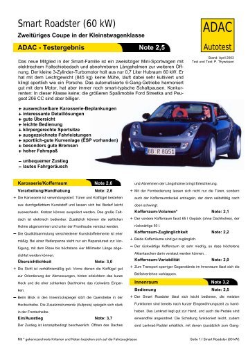 Umfassender Test Smart Roadster (60 kW) - ADAC
