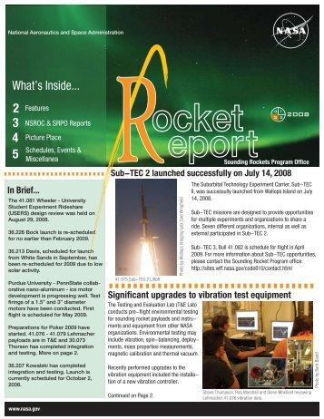 p1 Rocket Report 3rd qt  08 - the NASA Sounding Rocket Science ...
