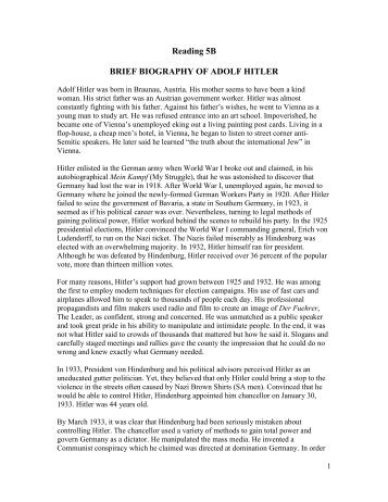 Reading 5B BRIEF BIOGRAPHY OF ADOLF HITLER