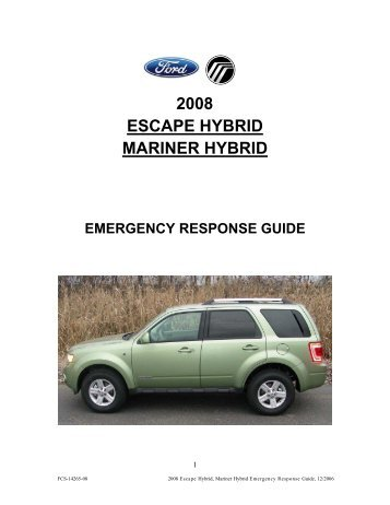 2008 escape hybrid mariner hybrid emergency response guide