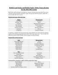 Senior and Junior Alpine Ski team announcement . - Snowsport ...