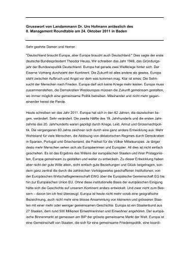 Grusswort von Landammann Dr. Urs Hofmann anlässlich des 8 ...