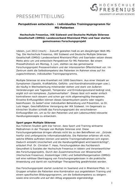Studiengänge Physiotherapie und Logopädie reakkreditiert