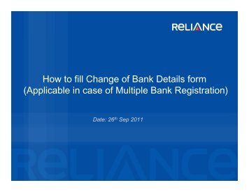 How to fill Change of Bank Details form g - Reliance Mutual Fund