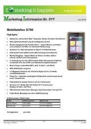 Marketing-Information Nr. 377 Mobiltelefon G700 - Mobileplus