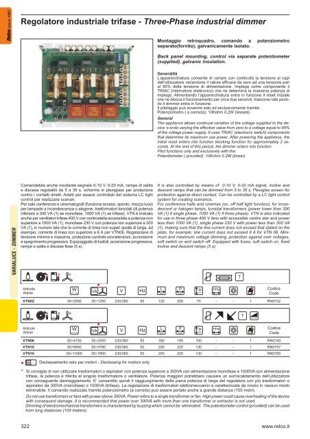 Regolatore industriale trifase - Three-Phase industrial dimmer - Relco
