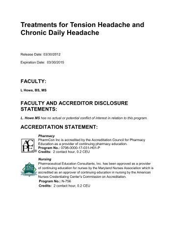 Treatments for Tension Headache and Chronic Daily Headache