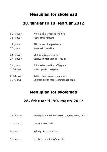 Menuplan for skolemad 10. januar til 10. februar 2012 ... - Nim Skole
