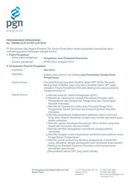 Pengumuman Pengadaan Jasa Pengelola Keamanan.cdr - PGN