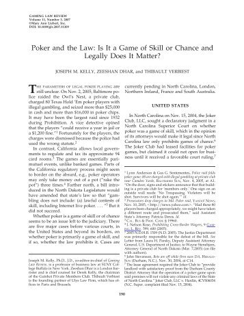 Poker and the Law - Economics of Casino Gambling