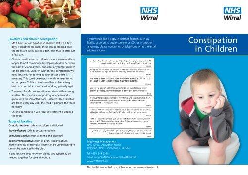 Constipation in Children - Wirral Medicines Management - Home