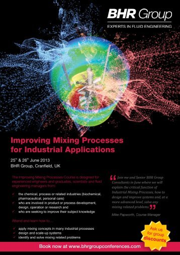 Improving Mixing Processes for Industrial Applications - BHR Group