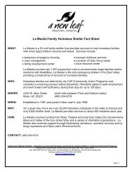 La Mesita Family Homeless Shelter Fact Sheet - A New Leaf