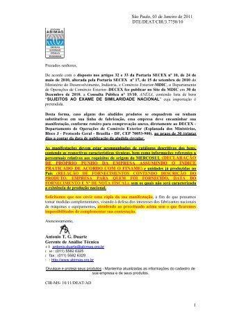 consulta pública nº 15 de 30/12/2010 exame da similaridade - Abimaq