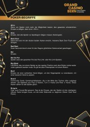 Poker-Begriffe - Grand Casino Bern