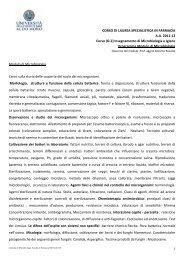 CORSO DI LAUREA SPECIALISTICA IN - Farmacia