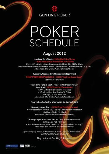 Poker Schedule Poster.indd - Genting Casinos