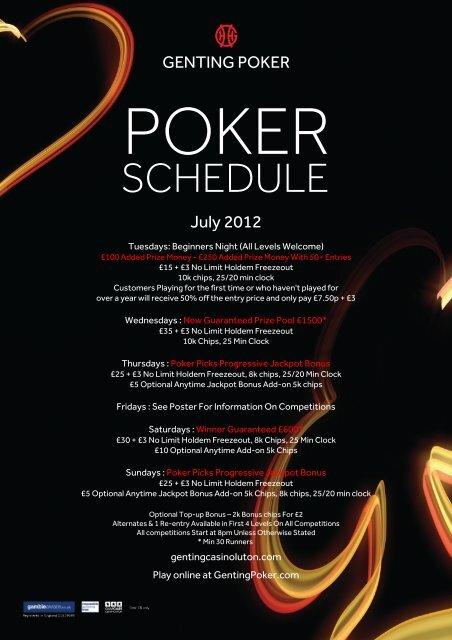 Genting Reading Poker Schedule
