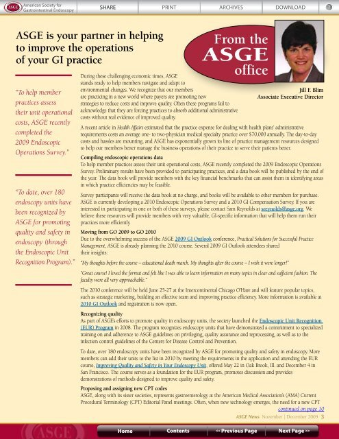 Printable Endoscopy: 3 From The ASGE Office 5