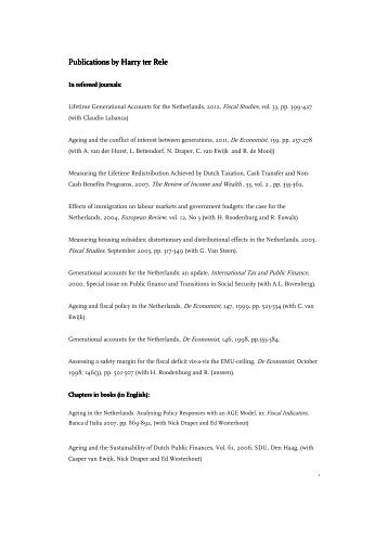 [PDF] Harry ter Rele - Centraal Planbureau