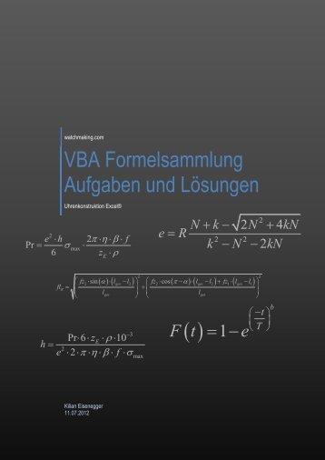 VBA Formelsammlung Aufgaben und Lösungen - Watchmaking