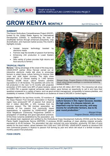 USAID-KHCP monthly bulletin #x09 Xxxx 20xx - Hortinews.co.ke