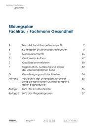 Bildungsplan Fachfrau / Fachmann Gesundheit - BBZ