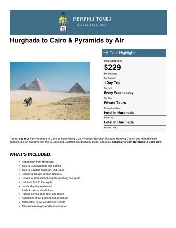 Hurghada to Cairo & Pyramids by Air - Memphis Tours Egypt