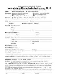 Anmeldung Kinderferienbetreuung 2010 - Gleichstellungsbüro der ...