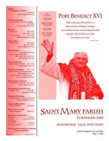 SIXTH SUNDAY OF EASTER May 1, 2005 - St. Mary Parish