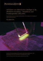 Archivieren von elektronischen Unterlagen in der öffentlichen ...