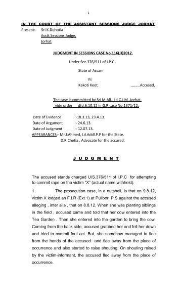 Present:- Sri K.Dohotia Asstt.Sessions Judge, Jorhat. JUDGMENT IN ...