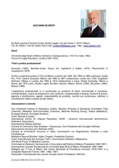 Curriculum Vitae Summer School On International Arbitration