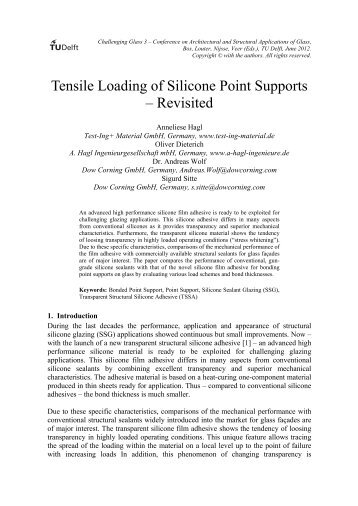 Tensile Loading of Silicone Point Supports ... - a-hagl-ingenieure