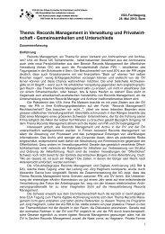 Thema: Records Management in Verwaltung und Privatwirt- schaft ...