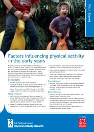 Factors influencing physical activity in the early years - BHF National ...