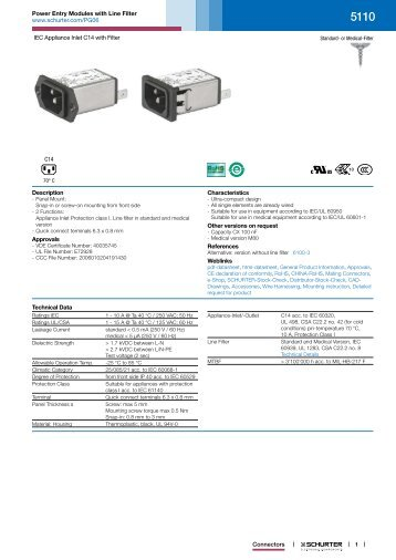 5110 - Power Entry Modules with Line Filter - SCHURTER