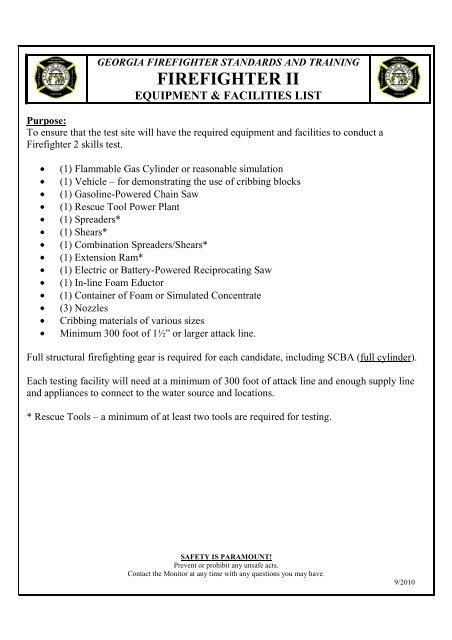 firefighter ii skill station equipment list - GFSTC Online