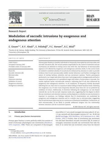Modulation of saccadic intrusions by exogenous and endogenous ...